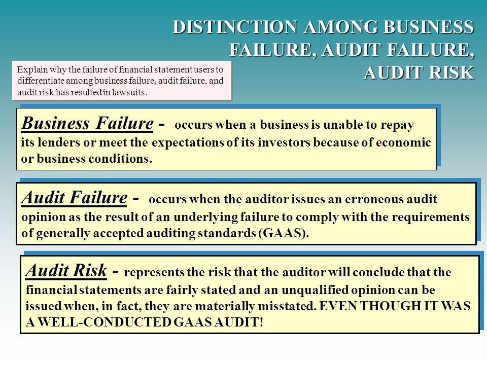 DISTINCTION AMONG BUSINESS FAILURE, AUDIT FAILURE, AUDIT RISK