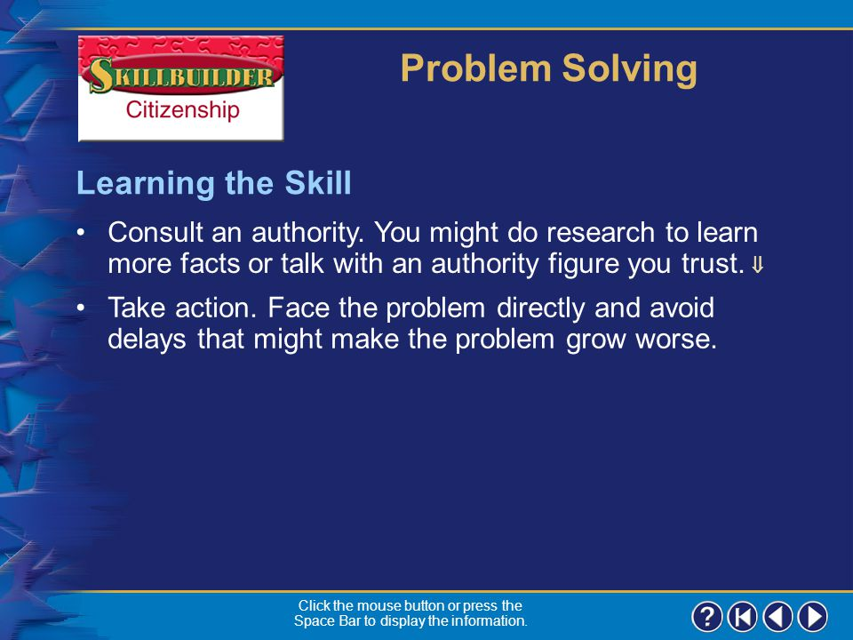 Problem Solving Learning the Skill