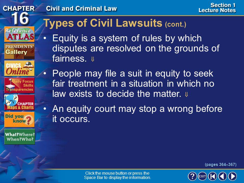 Types of Civil Lawsuits (cont.)