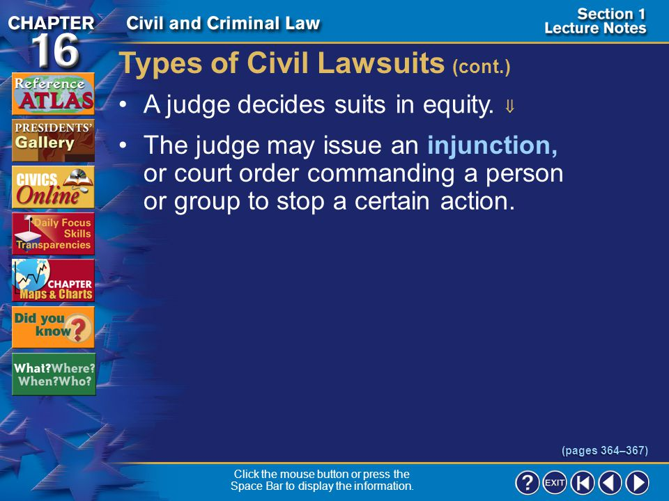 Types of Civil Lawsuits (cont.)