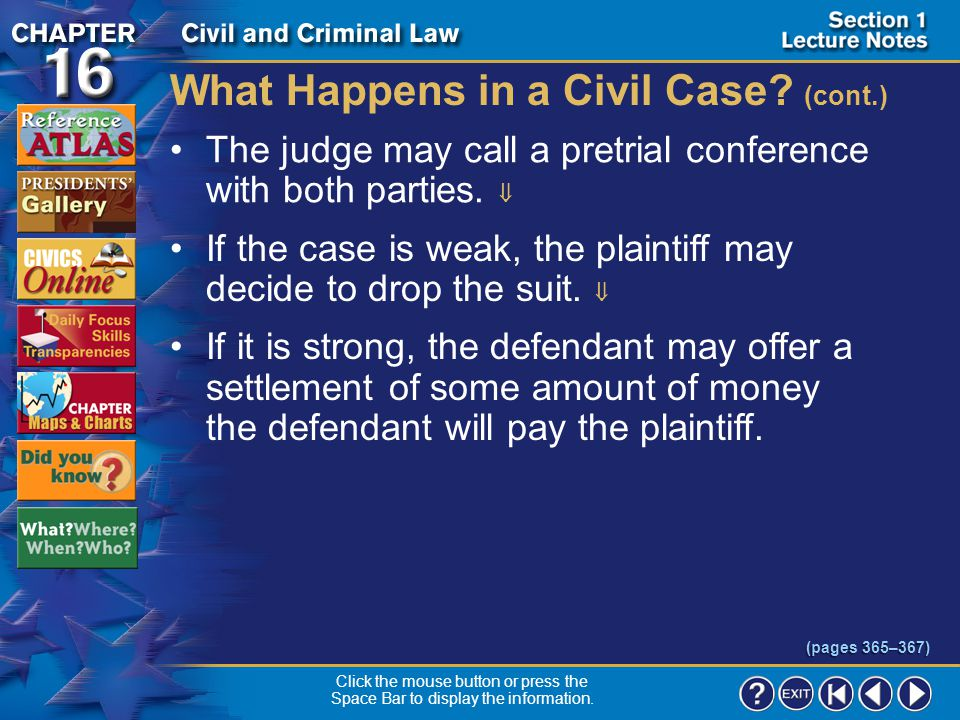 What Happens in a Civil Case (cont.)