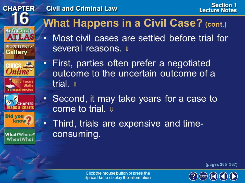 What Happens in a Civil Case (cont.)