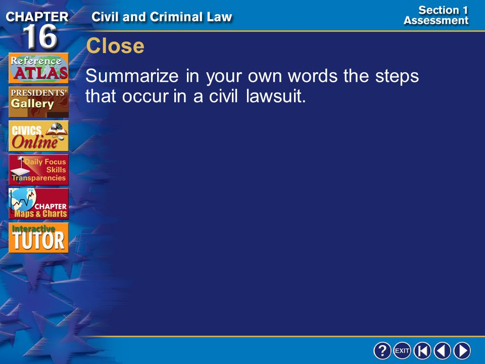 Close Summarize in your own words the steps that occur in a civil lawsuit. Section 1-24