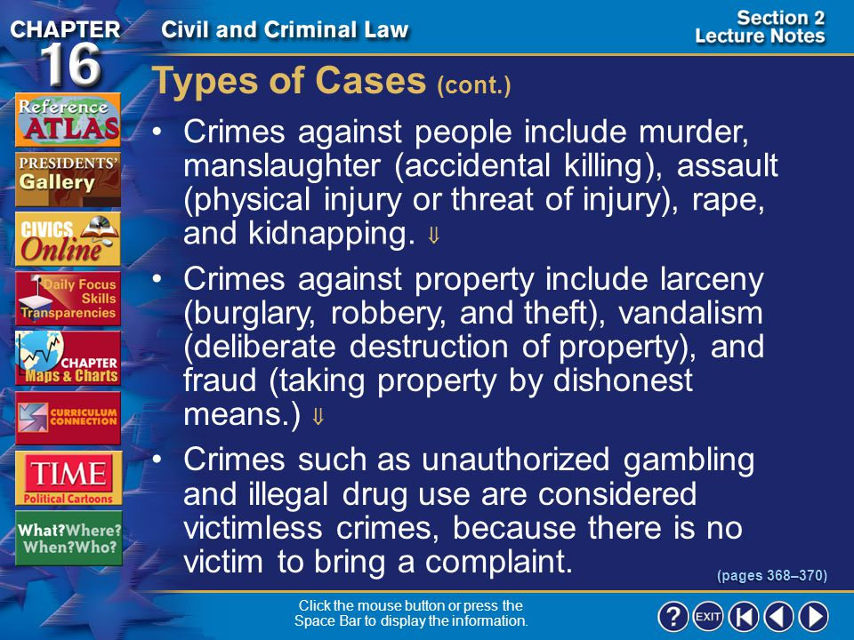 Types of Cases (cont.)