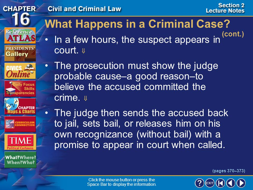 What Happens in a Criminal Case (cont.)