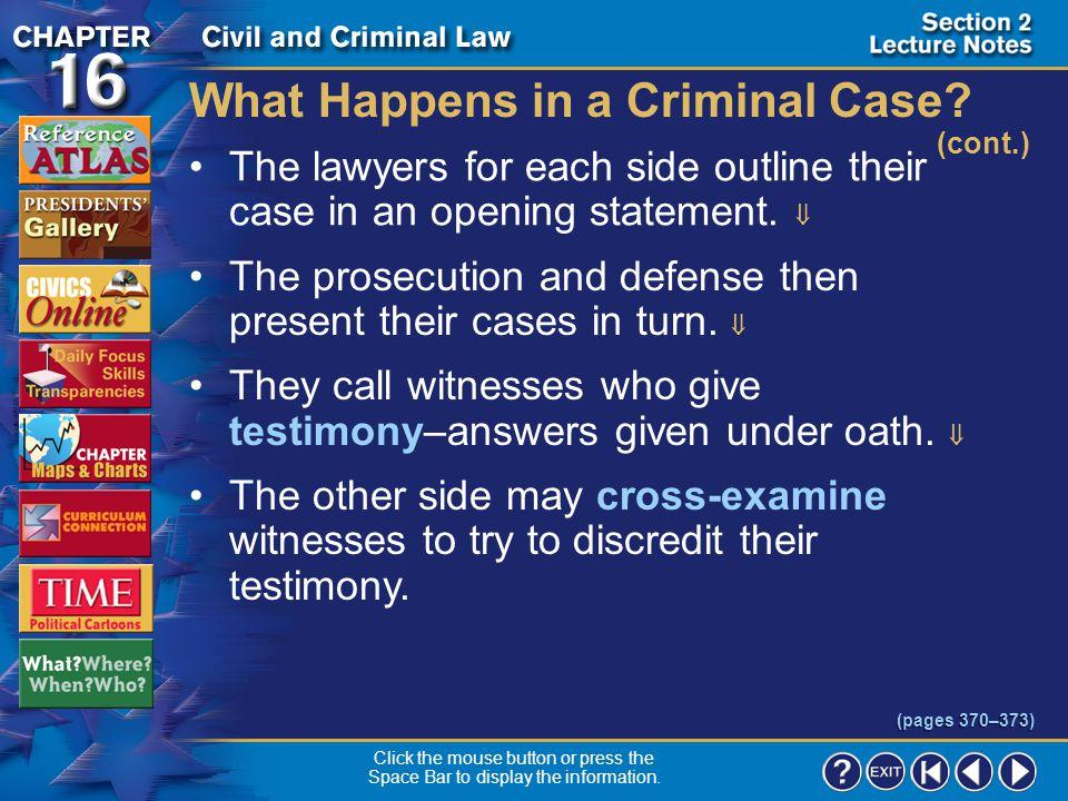 What Happens in a Criminal Case (cont.)