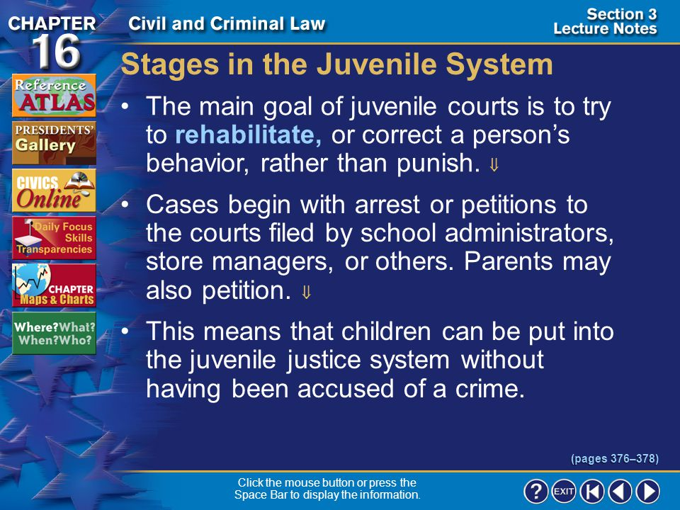 Stages in the Juvenile System