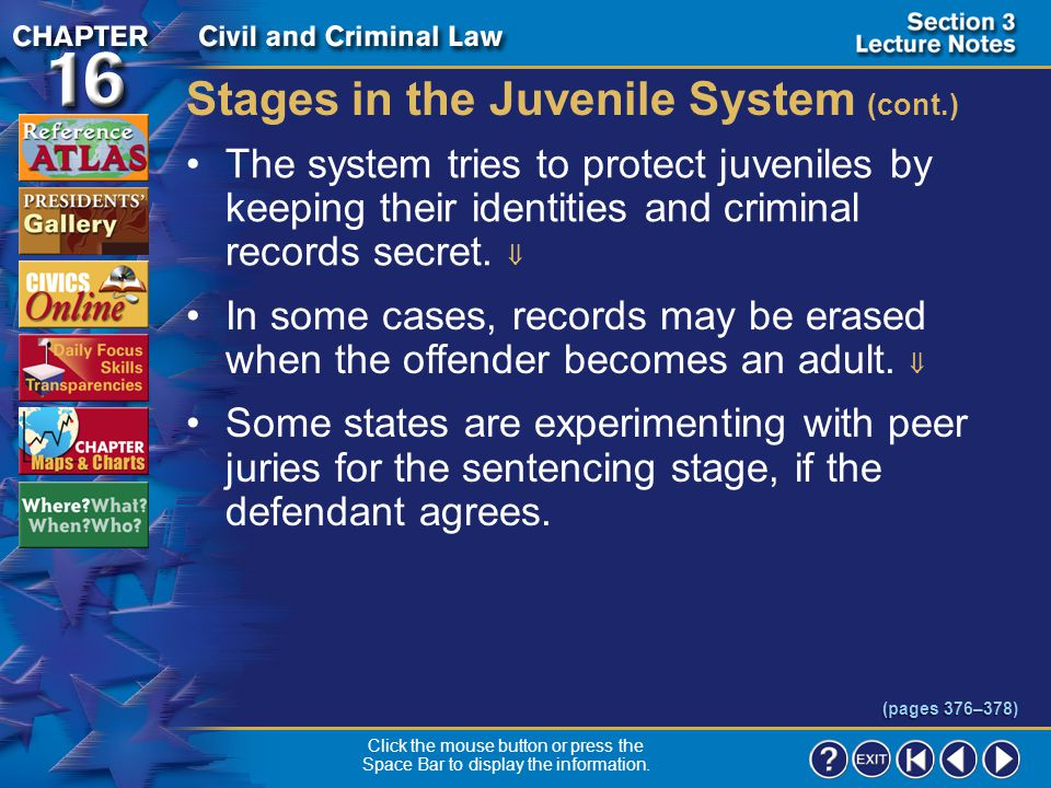 Stages in the Juvenile System (cont.)