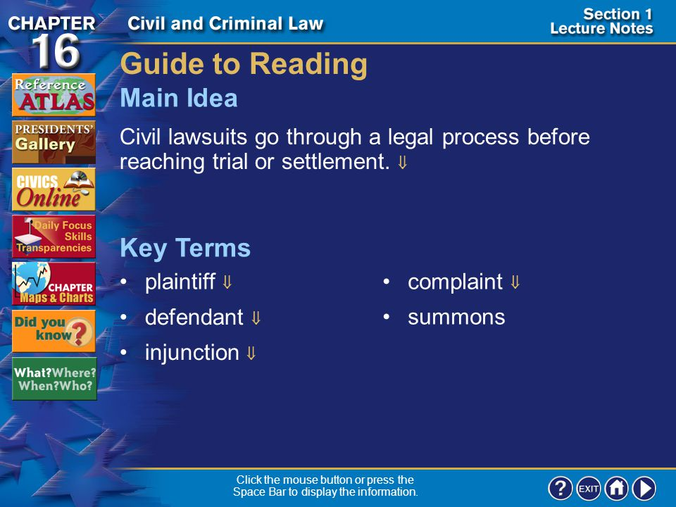 Guide to Reading Main Idea Key Terms