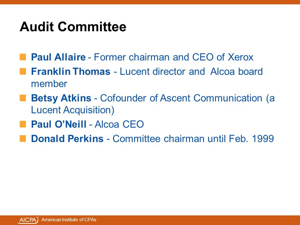 Audit Committee Paul Allaire - Former chairman and CEO of Xerox