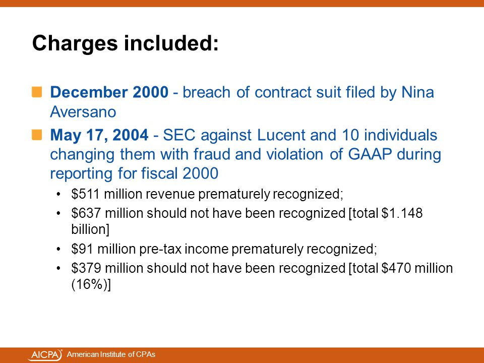Charges included: December 2000 - breach of contract suit filed by Nina Aversano.