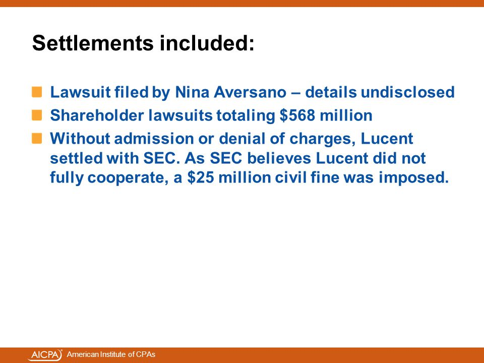 Settlements included: