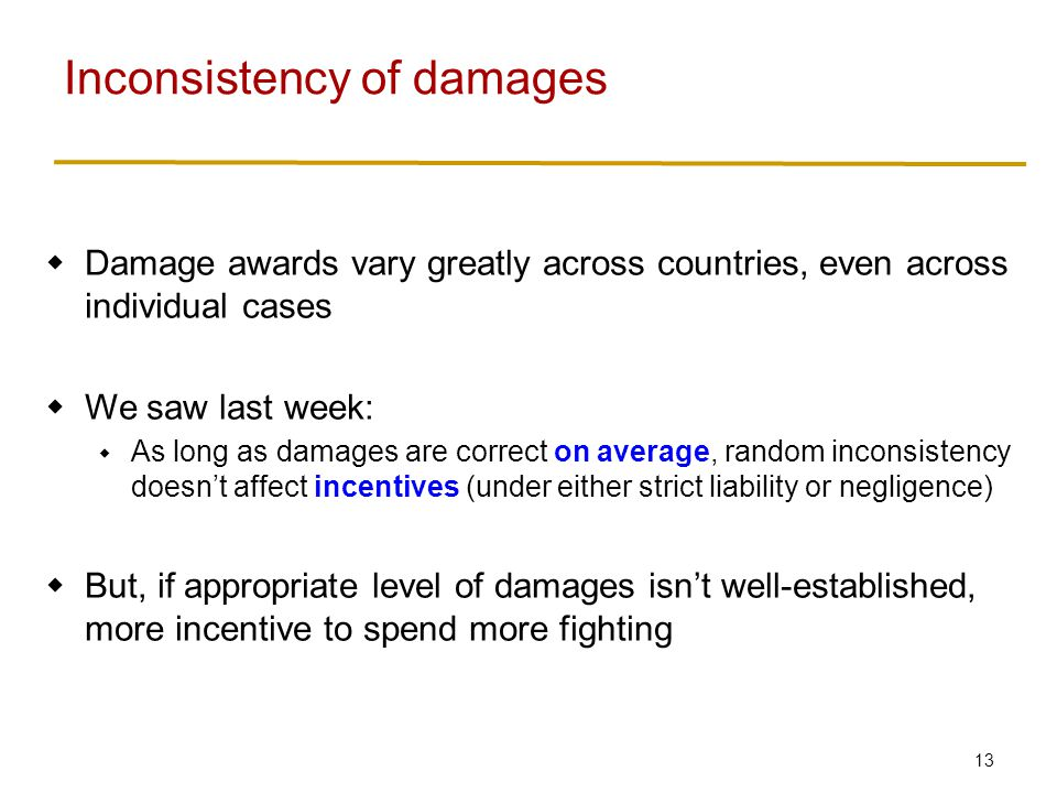 Punitive damages What we've discussed so far: compensatory damages