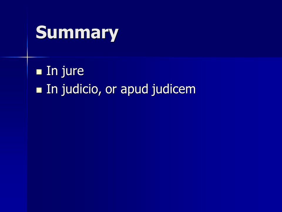 Summary In jure In judicio, or apud judicem
