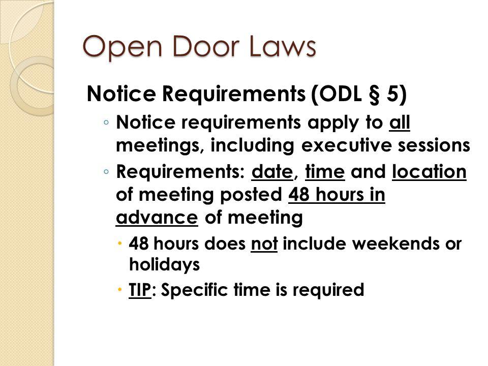 Open Door Laws Notice Requirements (ODL § 5)