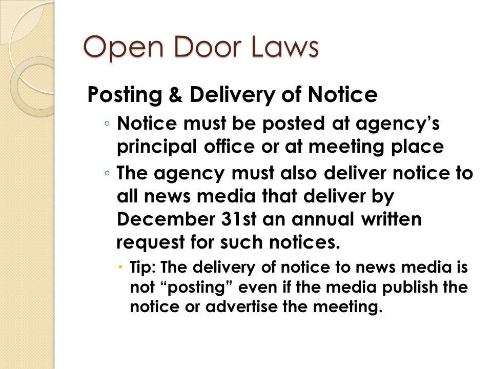 Open Door Laws Posting & Delivery of Notice
