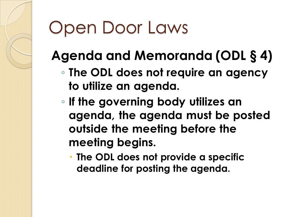 Open Door Laws Agenda and Memoranda (ODL § 4)