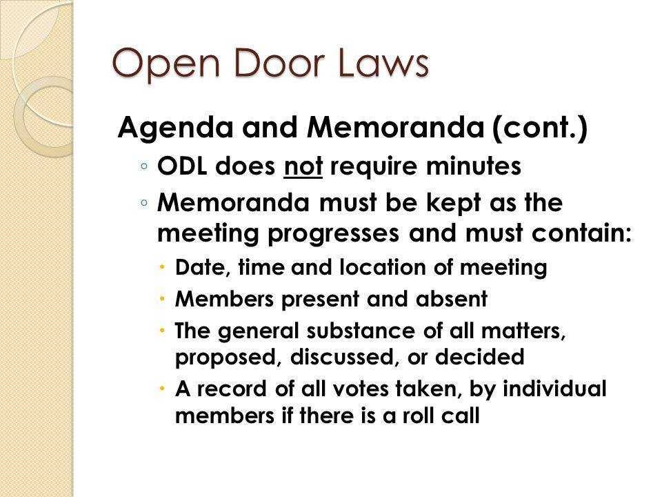 Open Door Laws Agenda and Memoranda (cont.)