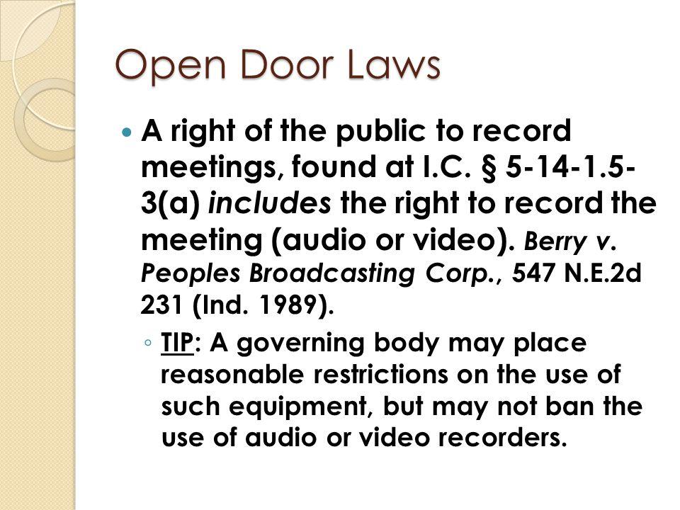 Open Door Laws