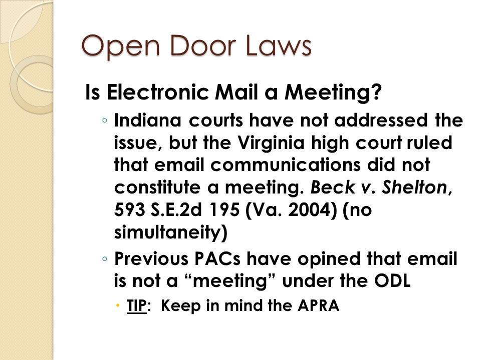 Open Door Laws Is Electronic Mail a Meeting