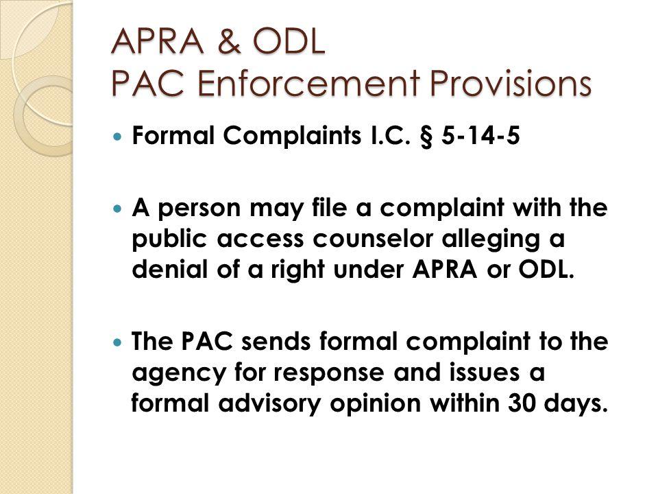 APRA & ODL PAC Enforcement Provisions