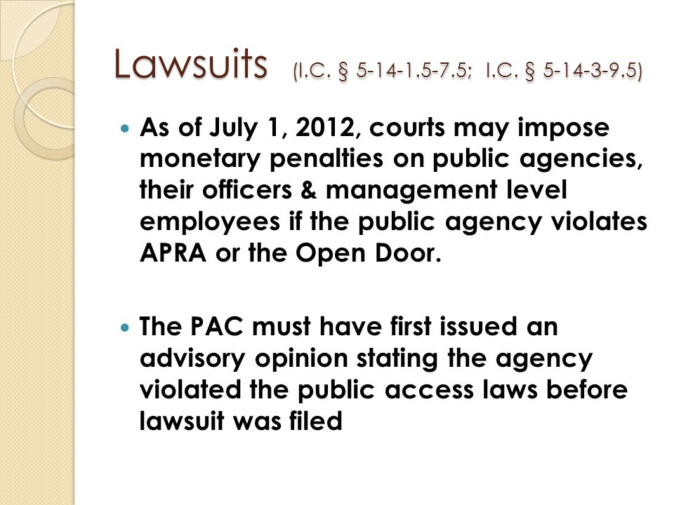 Lawsuits (I.C. § 5-14-1.5-7.5; I.C. § 5-14-3-9.5)