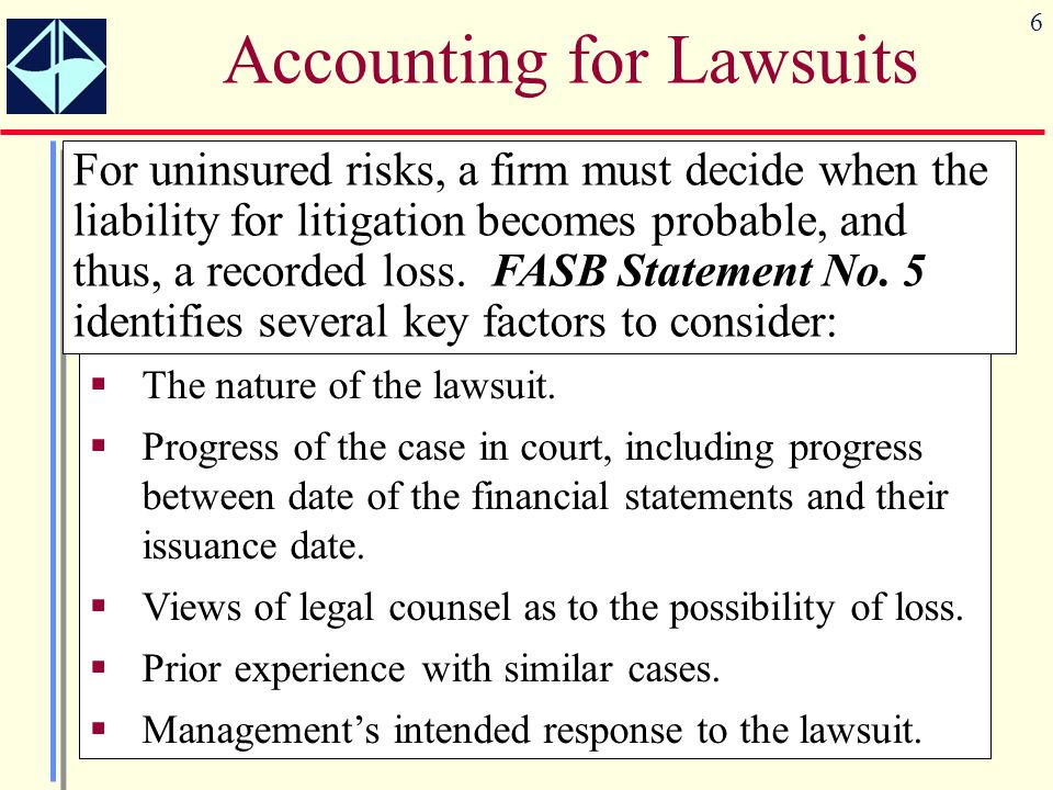 Accounting for Lawsuits