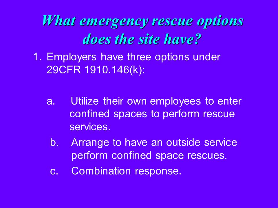 What emergency rescue options does the site have