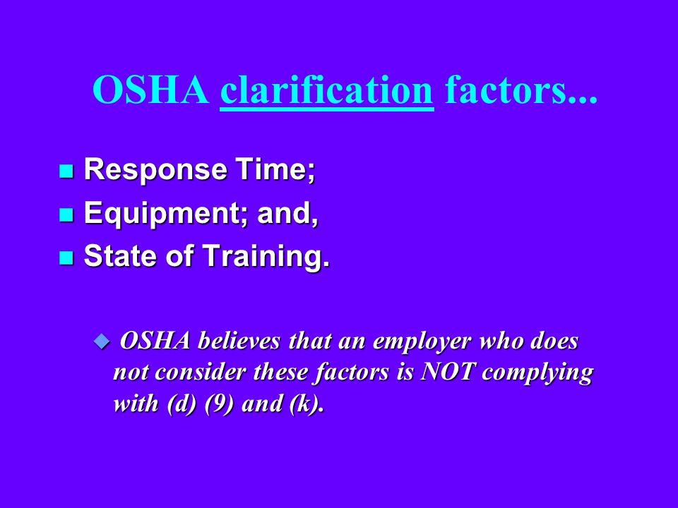 OSHA clarification factors...