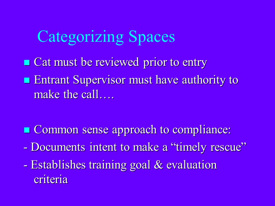 Categorizing Spaces Cat must be reviewed prior to entry
