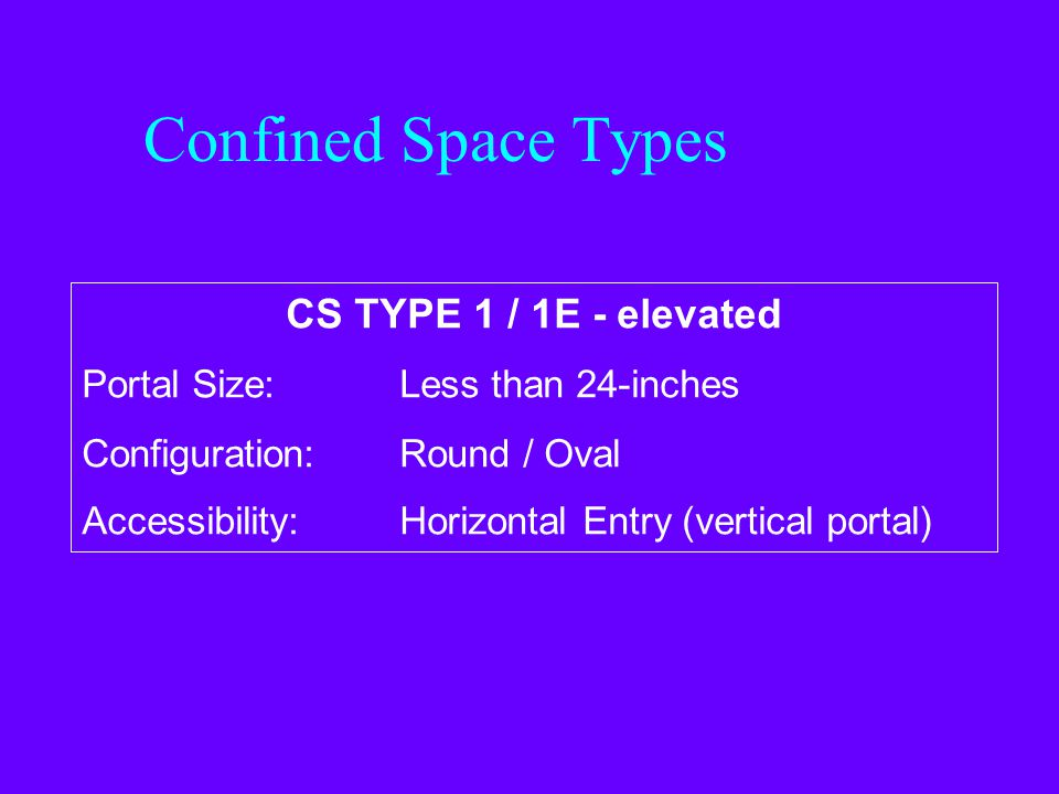 Confined Space Types CS TYPE 1 / 1E - elevated