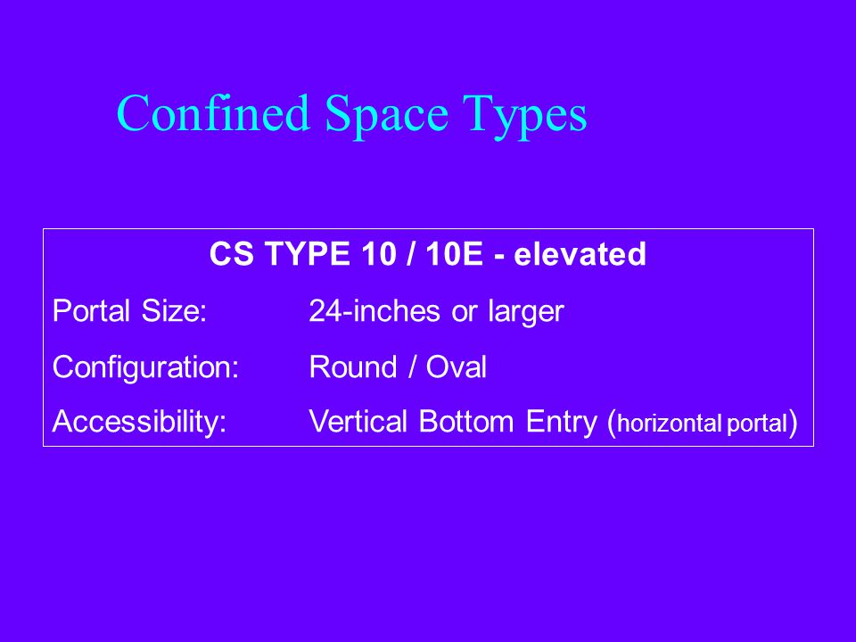 Confined Space Types CS TYPE 10 / 10E - elevated