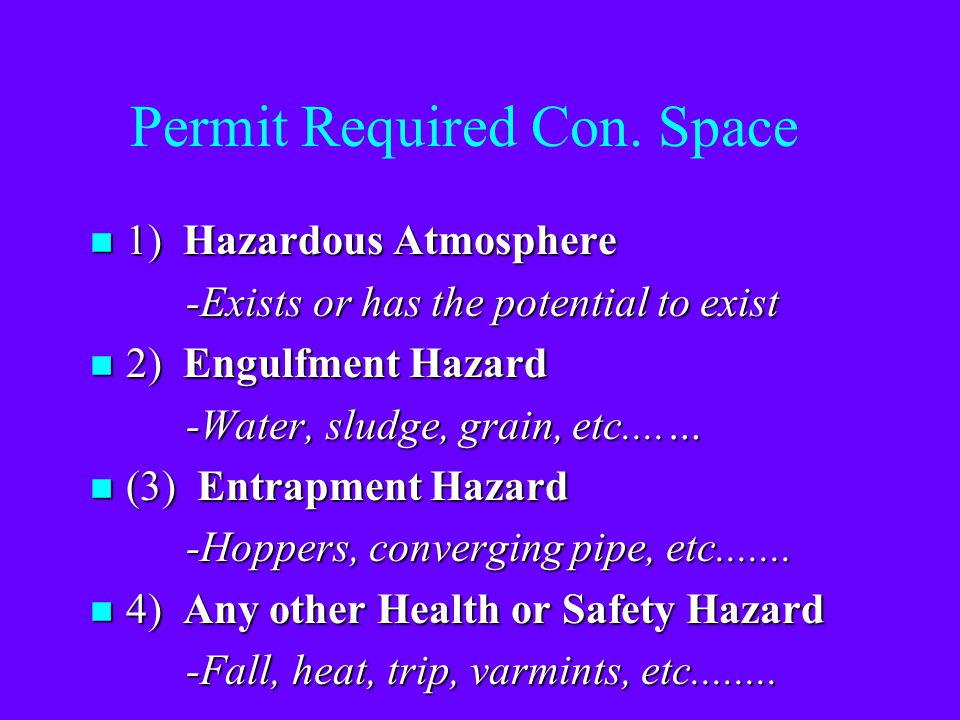 Permit Required Con. Space