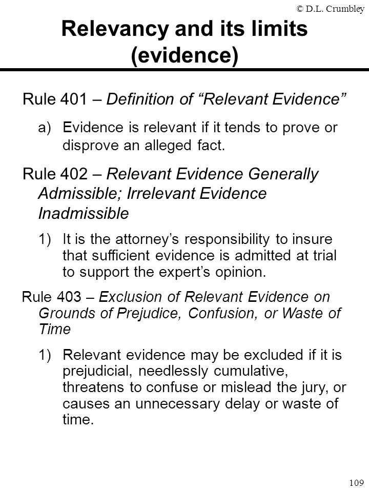 Relevancy and its limits (evidence)