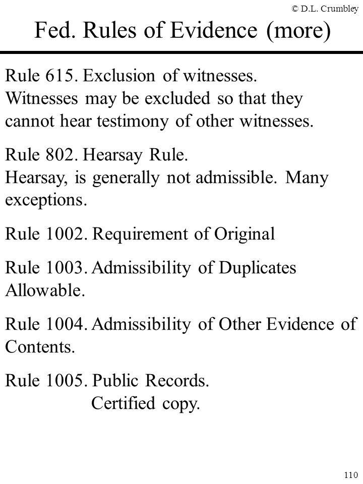 Fed. Rules of Evidence (more)