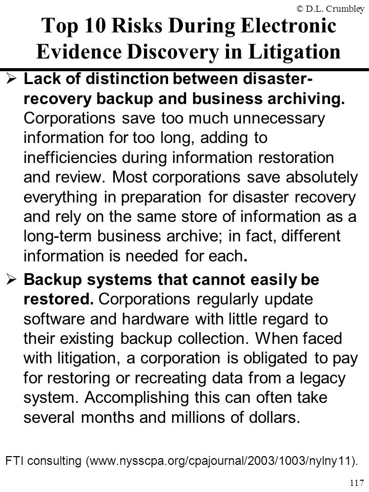 Top 10 Risks During Electronic Evidence Discovery in Litigation