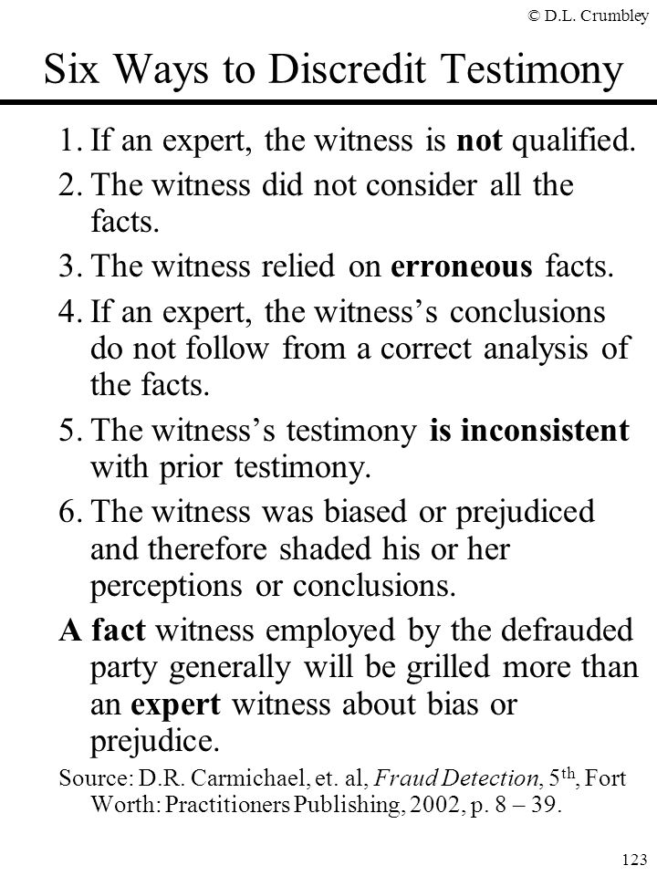 Six Ways to Discredit Testimony