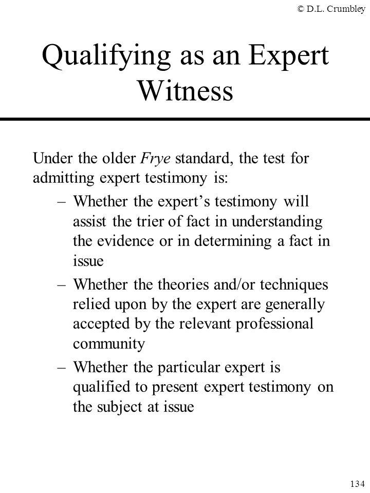 Qualifying as an Expert Witness