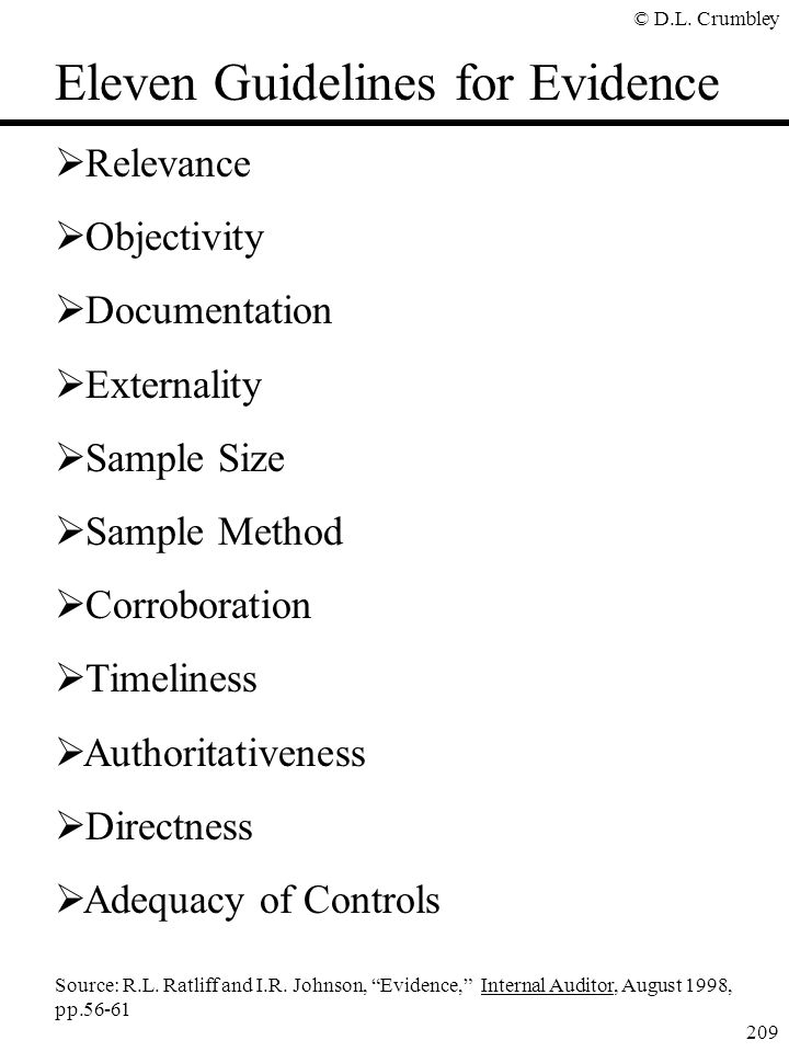 Eleven Guidelines for Evidence