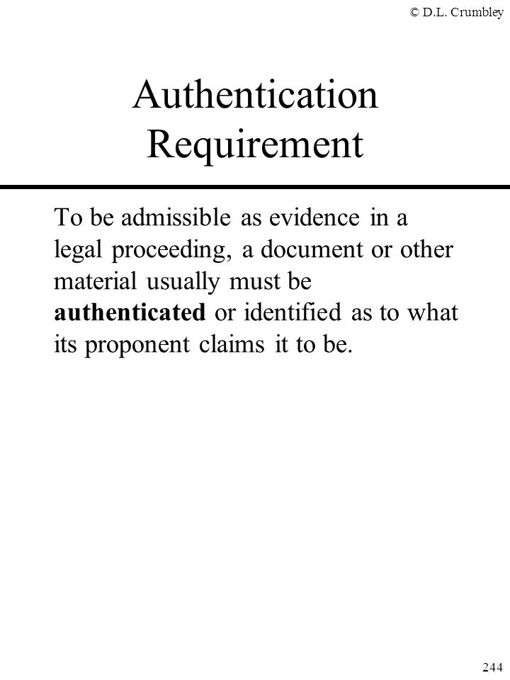 Authentication Requirement
