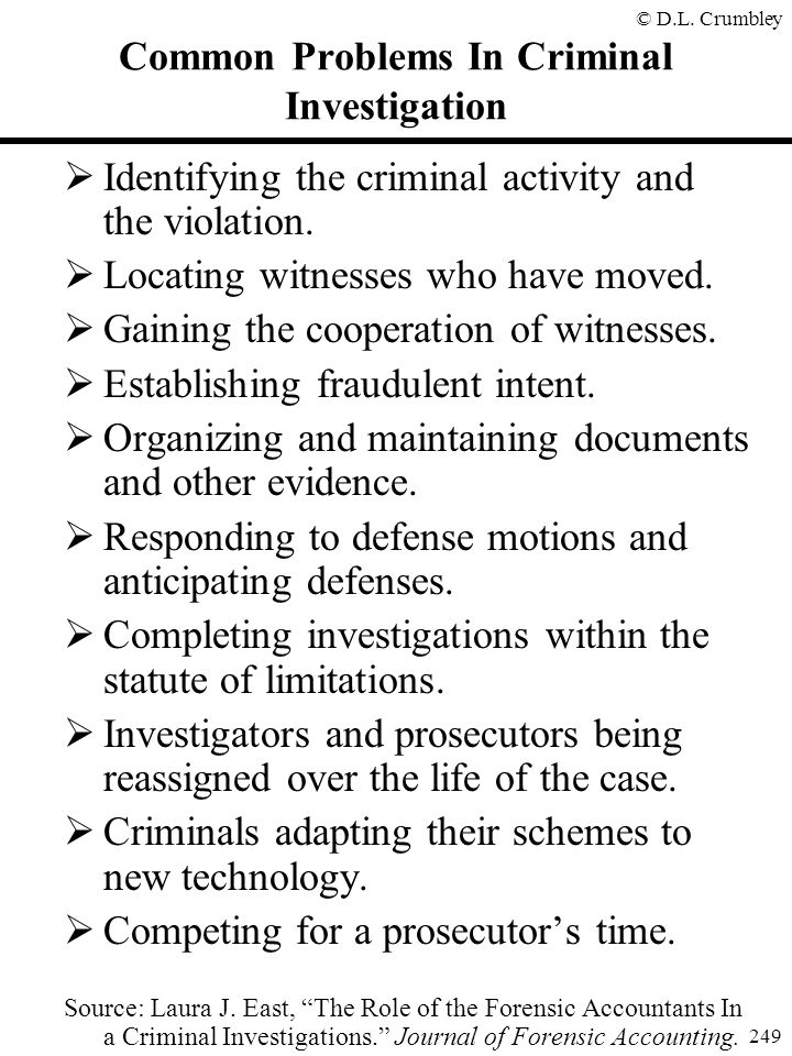 Common Problems In Criminal Investigation