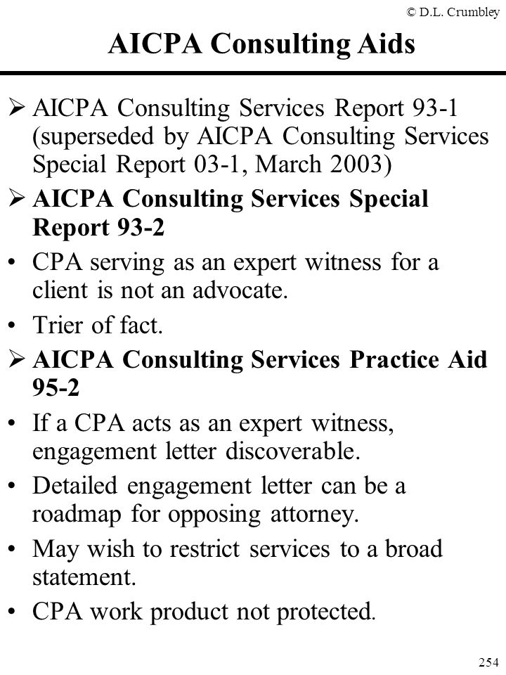 AICPA Consulting Aids AICPA Consulting Services Report 93-1 (superseded by AICPA Consulting Services Special Report 03-1, March 2003)
