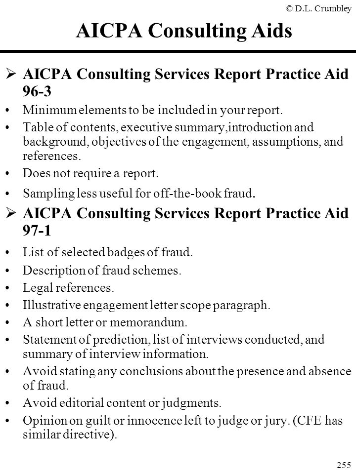 AICPA Consulting Aids AICPA Consulting Services Report Practice Aid 96-3. Minimum elements to be included in your report.