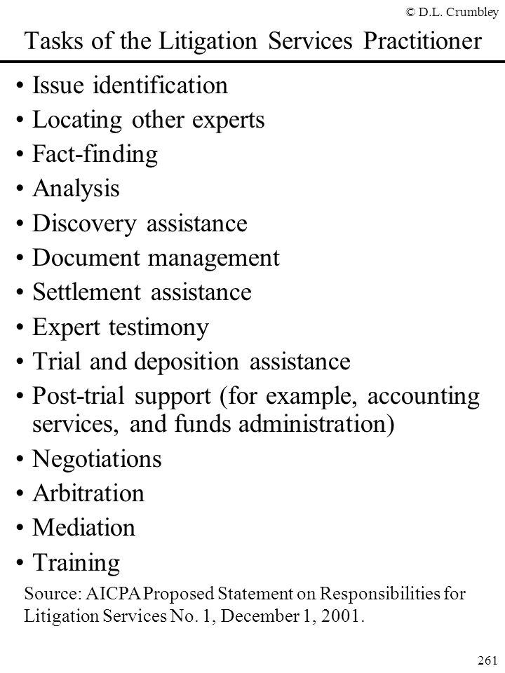 Tasks of the Litigation Services Practitioner