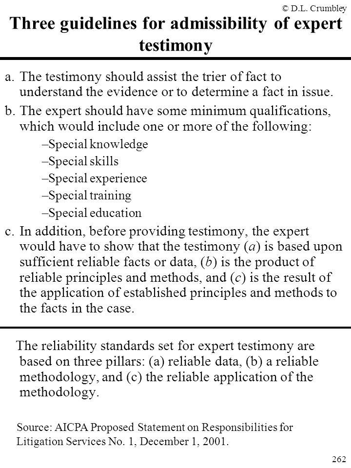 Three guidelines for admissibility of expert testimony