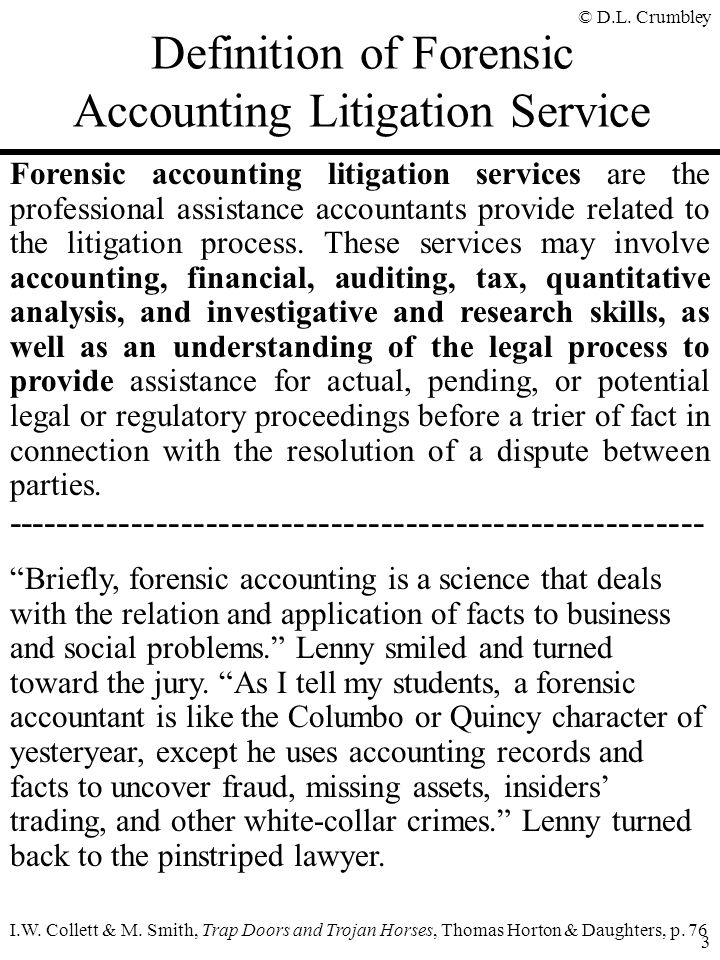 Definition of Forensic Accounting Litigation Service