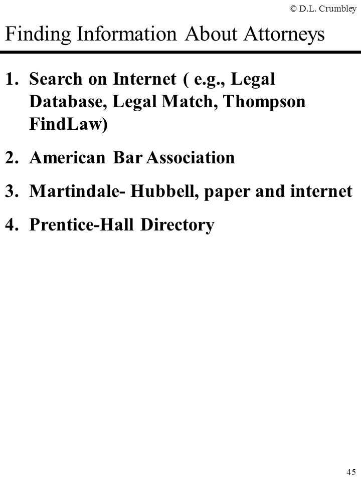 Finding Information About Attorneys