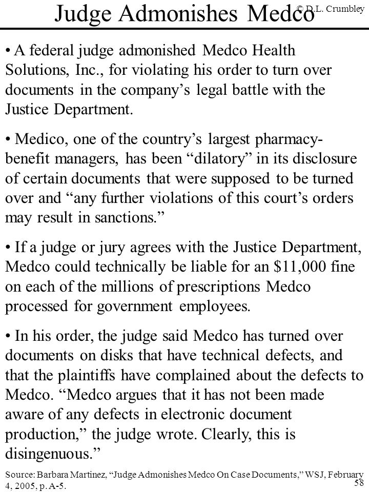 Judge Admonishes Medco