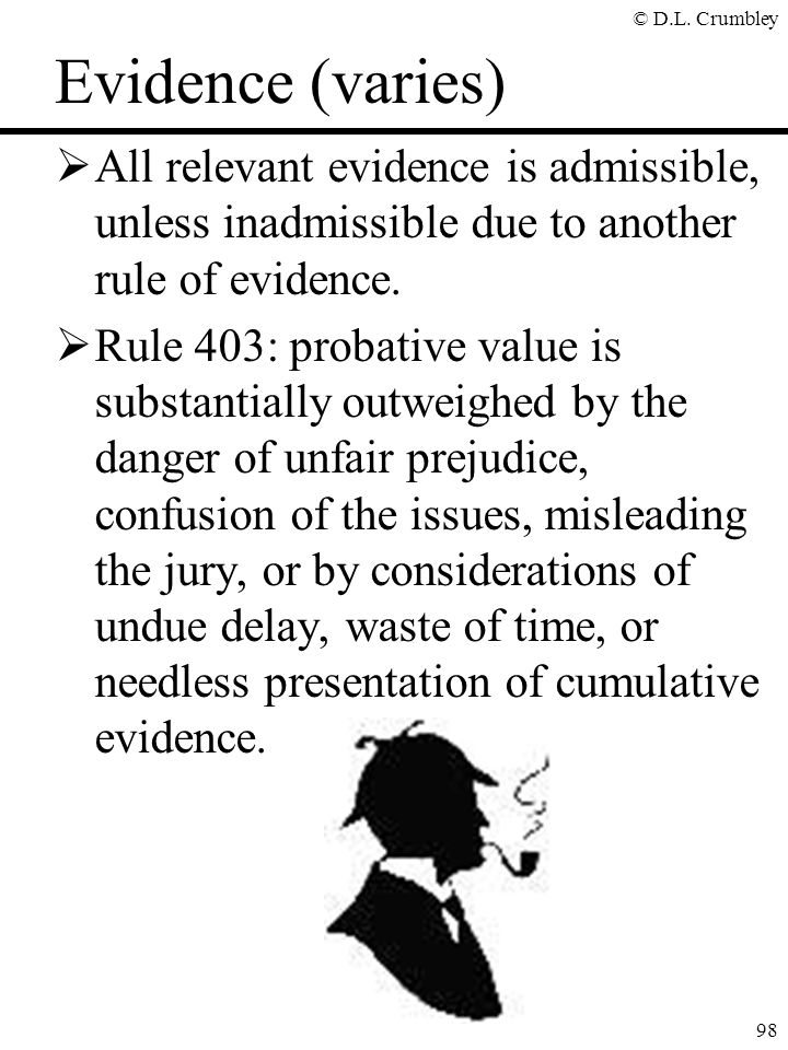 Evidence (varies) All relevant evidence is admissible, unless inadmissible due to another rule of evidence.