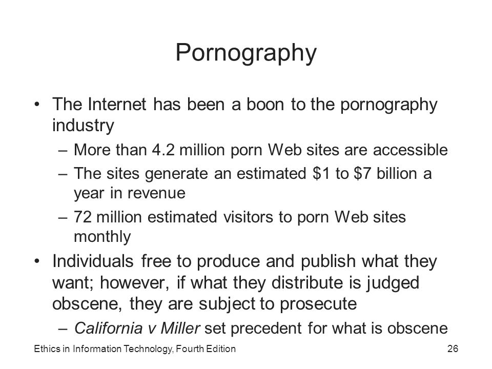Pornography The Internet has been a boon to the pornography industry